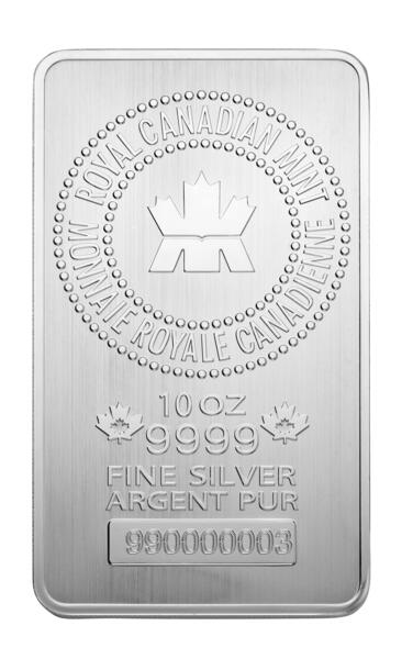 Lingot d'argent  10 onces - Royal Canadian Mint