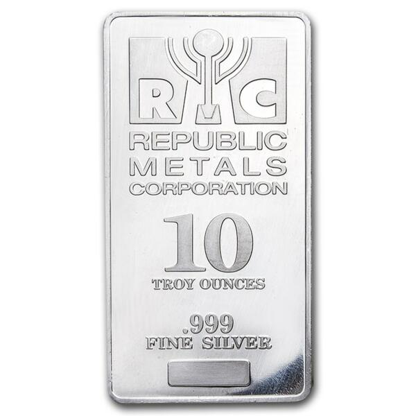 Lingot d'argent  10 onces - Republic Metals Corporation