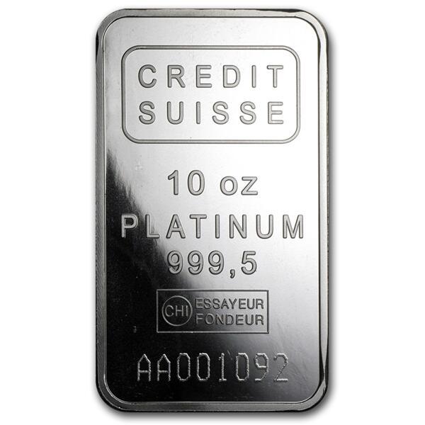 Lingot de platine  10 onces - Crédit Suisse