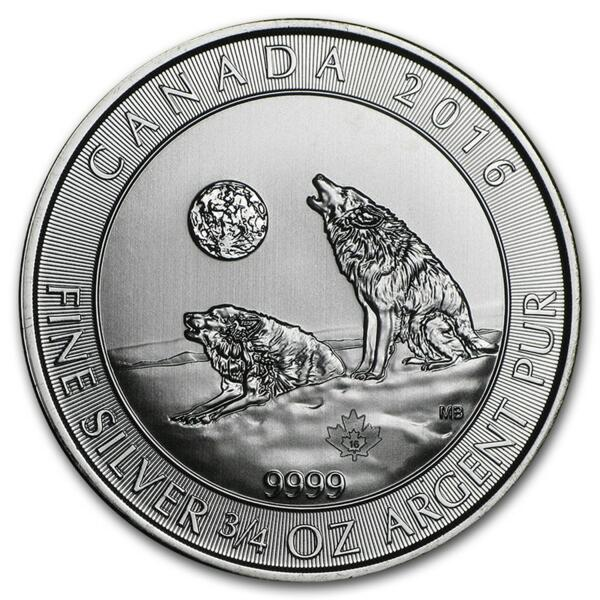Howling Wolves argent 0.75 once - Monster box de 600 - 2016 - Royal Canadian Mint