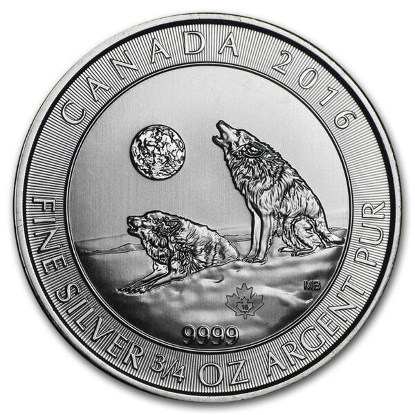 Howling Wolves argent 0.75 once - Monster box de 600 - 2016 - Royal Canadian Mint