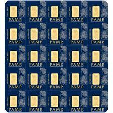 Lingot d'or plaquette multigramme 1 gramme - Pack de 25 - PAMP