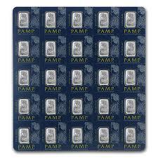 Lingot de platine  1 gramme - Pack de 25 - PAMP
