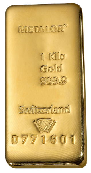 Lingot d'or  1 kilogramme - Metalor