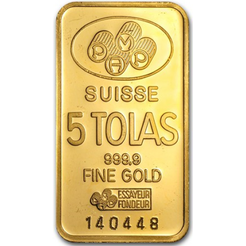 Lingot d'or 5 tolas PAMP 58.32 grammes - PAMP