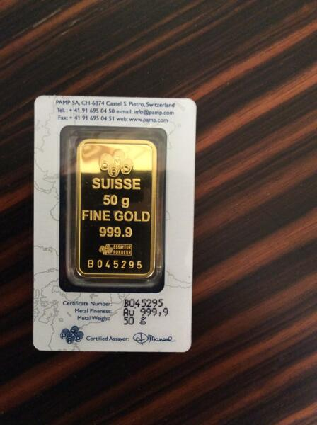 Lingot d'or  50 grammes - PAMP