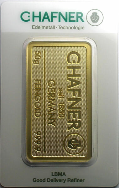 Lingot d'or  50 grammes - C.Hafner
