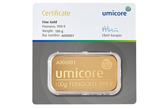 Lingot d'or frappé 100 grammes - Umicore