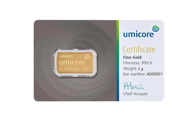 Lingot d'or  5 grammes - Umicore