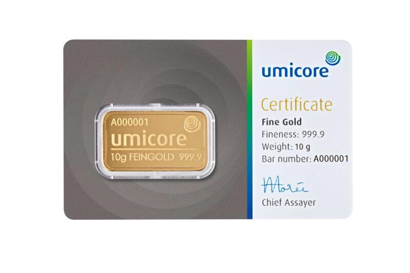 Lingot d'or  10 grammes - Umicore
