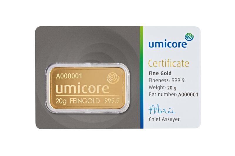 Lingot d'or  20 grammes - Umicore