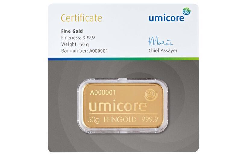 Lingot d'or  50 grammes - Umicore