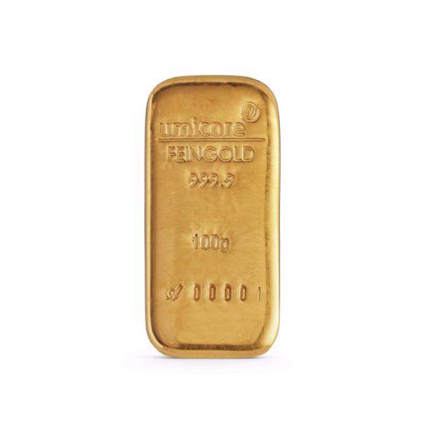 Lingot d'or coulé 100 grammes - Umicore