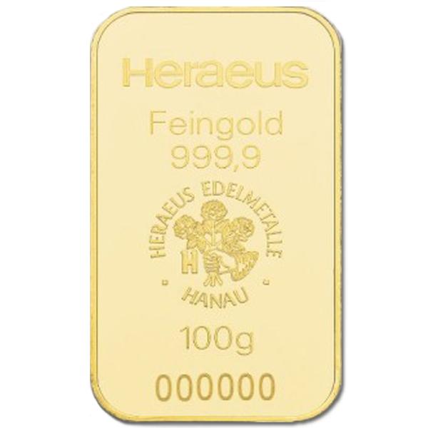 Lingot d'or  100 grammes - Heraeus