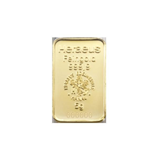 Lingot d'or  5 grammes - Heraeus