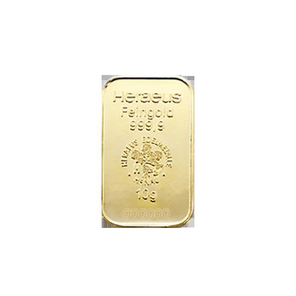 Lingot d'or  10 grammes - Heraeus
