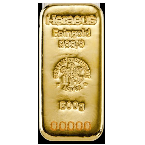 Lingot d'or  500 grammes - Heraeus