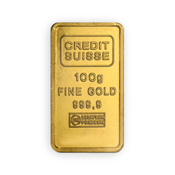 Lingot d'or  100 grammes - Crédit Suisse