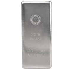 Lingot d'argent  100 onces - Royal Canadian Mint