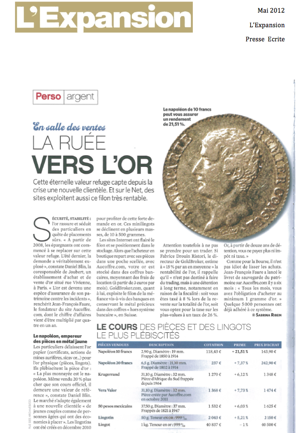 Article sur Goldbroker dans l'Expansion