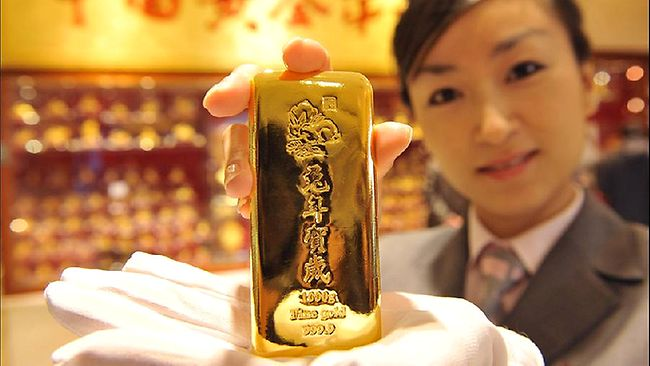 Un lingot d'or en Chine
